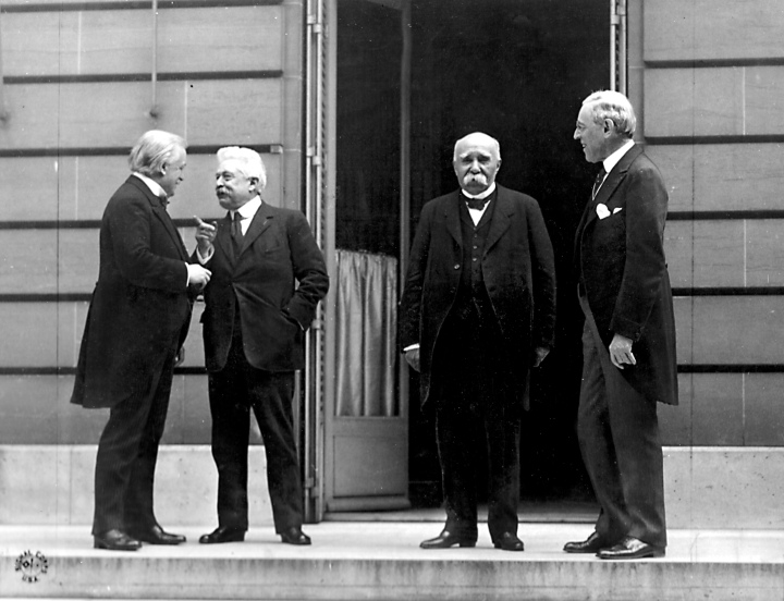 "The Paris Peace Conference began January 18th, 1919. ""The Big Four"" (David Lloyd George of Britain, Vittorio Emanuele Orlando of Italy, Georges Clemenceau of France, President Woodrow Wilson of the U.S) made most of the decisions."