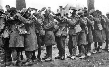 British troops blinded by tear gas during the Battle of Estaires, 1918.