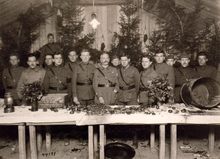 Officers of the 79th Division. Meuse, France. Christmas, 1918.