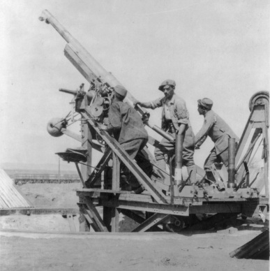 A French 75mm anti-aircraft gun—not to be confused with the cocktail.