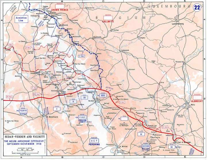 A map of the Meuse-Argonne Offensive, 1918.