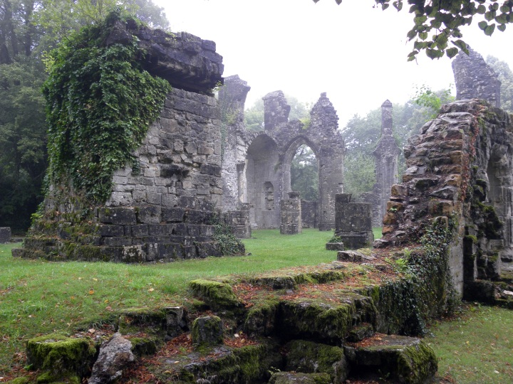 A ruined church in the Argonne forest. The structure on the left is a German observation post.
