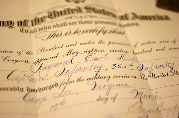 Cap's honorable discharge papers, signed by General Omar Bradley.