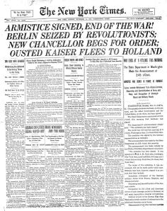 The front page of the New York Times: November 11, 1918.