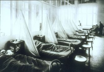 Flu victims from the AEF at a U.S. Army Camp Hospital in Aix-les-Bains, France, 1918.
