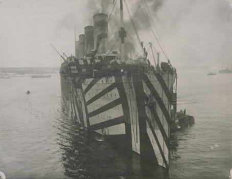 "Another view of the Olympic's ""dazzle"" camouflage."