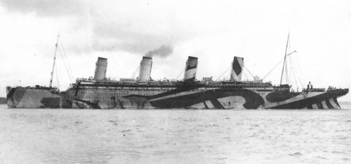 "In 1917, the RMS Olympic was painted with a ""dazzle"" camouflage to make it more difficult for observers to estimate its speed and heading."